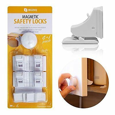 Magnetic Baby Safety Cabinet Locks No Tools Or Screws Needed 4 Locks & 1 Key Hea