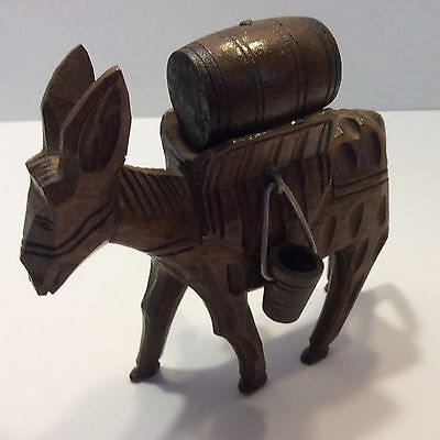 BURRO/DONKEY. Wooden Vintage Hand Carved Figure