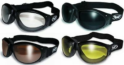 4 Eliminator Padded Motorcycle Goggles Clear Driving Mirror Super Dark Yellow