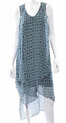 Kensie Layered Printed Midi Dress Tahiti Teal Combo Size L