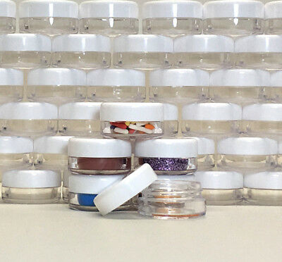 200 Plastic Beauty Containers Small Sample Cosmetic Jars White Cap 3 Gram #5052