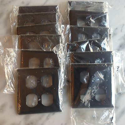 Lot of12 Vintage GE Double Outlet Covers Bakelite Chocolate Brown