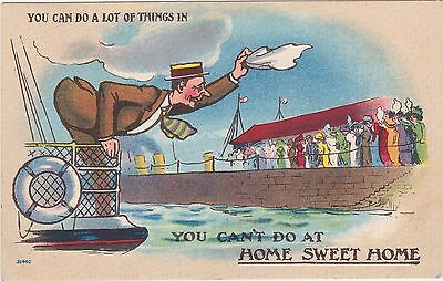 "'""Greetings From Card"" Valentine & Sons Comic 1916 Cambridge Sta., N.S. Postcard"