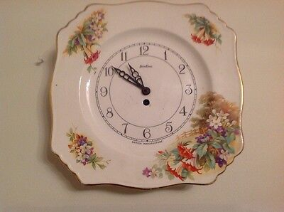 "Antique Vintage Bentima Ceramic Wall Clock 9""x9"" Wound Worked But Stopped"