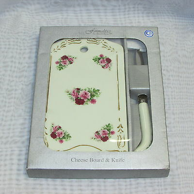 Baum Bros. Pink Roses Porcelain Cutting Board & Cheese Knife Formalities Floral