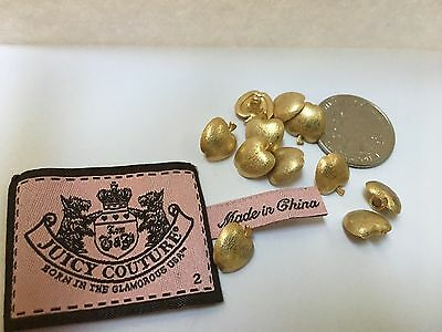11 Small gold tone Apple Tone Metal Buttons  and Juicy Couture Label