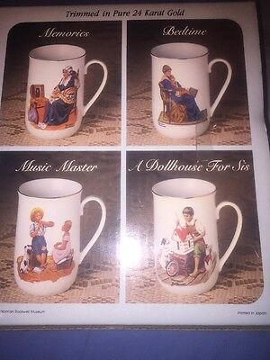 The Norman Rockwell Museum 1983 Set Of 4 Mugs