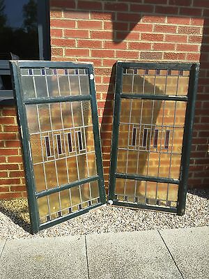 Pair Of Large Coloured Lead Light windows.  Open To Offers.