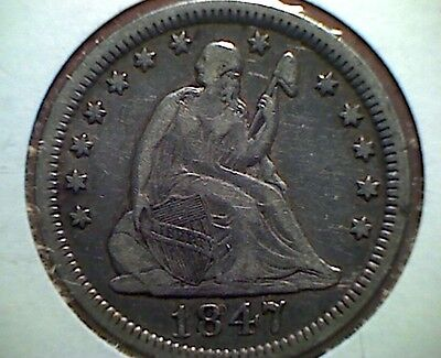 1847 Seated Liberty Quarter , Better  Date