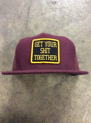 "SUPREME ""Get Your Sh*t Together"" Trucker Cap Hat Box Logo RARE Burgundy GYST"