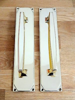"Pair Large 12"" Brass Art Deco Door Pull Handles Knobs Plates Finger Push"