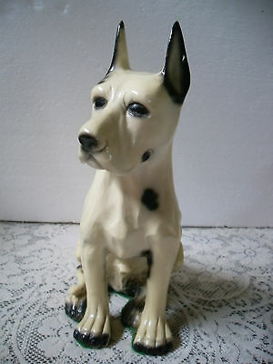 Large Sitting Great Dane Statue with Cropped Ears