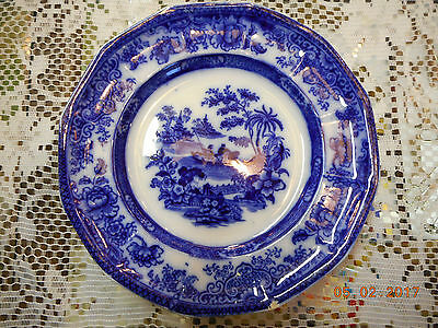 Antique Flow Blue Dinner Plate Tonquin Pattern Boat Pagoda  BY  JH   8 3/4