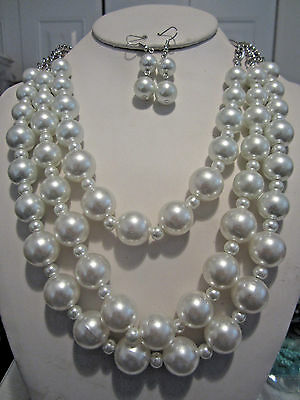 Thee Layers White Faux Pearl Silver Tone Link Chunky Necklace Earring Set