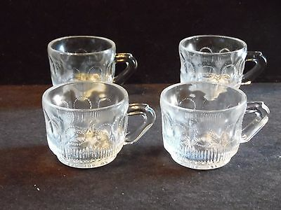 4 Vintage U.S. Glass Manhattan Clear Pressed Glass Punch Cups