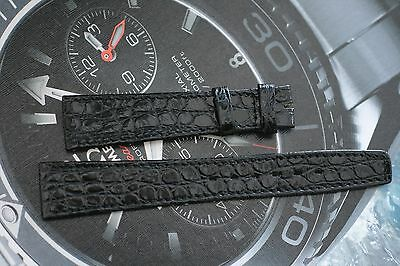 Omega Mens or Ladies Watch Flat Strap Black Alligator 18mm Size New Old Stock