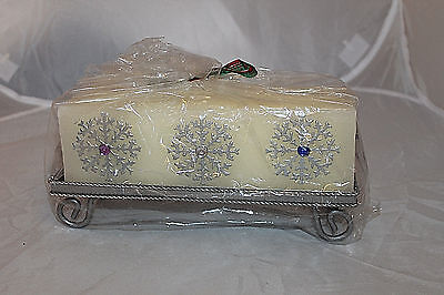 Snowflake Gem Bar Candle With Holder New