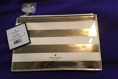 """* NEW * KATE SPADE Brand  """"Gold Stripe"""" Pouch With Six Pieces Set Inside!"""