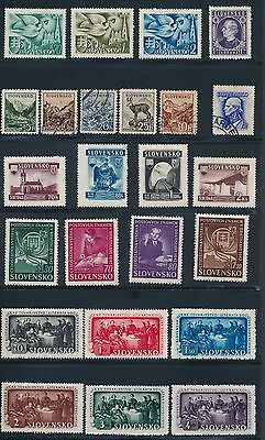 1941 - 1945 Slovakia ALL DIFFERENT AS SHOWN; MH & USED; CV $85
