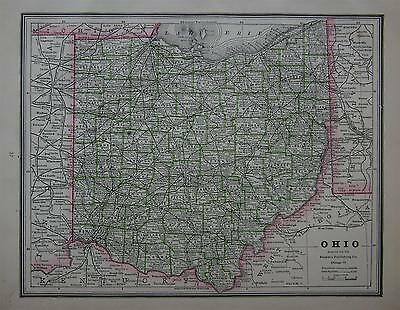1886 Ohio Antique Atlas Map^  .. Indiana map on back....Original 131 years-old!!