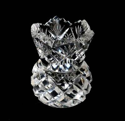 Vintage small cut crystal thistle bud vase in lovely condition 6.5cm tall