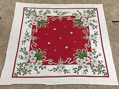 "VTG Mid Century Christmas Tablecloth Square 46"" X 52"" Candles Poinsettia Red"