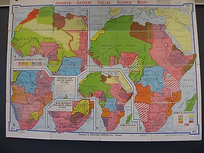 1963 Vintage Midcentury Denoyer-Geppert Folding Wall Map, Partition of Africa