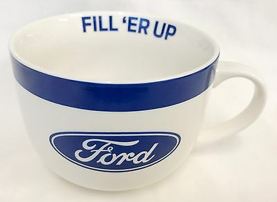 123625 FORD LOGO REFUEL WHITE CERAMIC 475ml SOUP BOWL SHAPED MUG WITH HANDLE