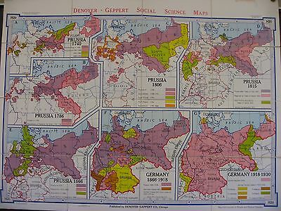 Vintage Midcentury Denoyer-Geppert Folding Wall Map, Prussia and Germany WWI