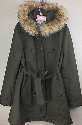 A Pea In The Pod Maternity Large Jacket Coat Lined Parka Green NICE!