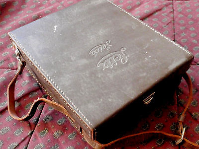 LEICA Leitz VINTAGE BROWN LEATHER CAMERA OUTFIT BOX CASE w/ accessories
