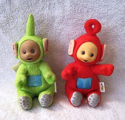 Super Cute - Set Of 2 - Plush Teletubbies - Red Po And Green Dipsy - Great Gifts