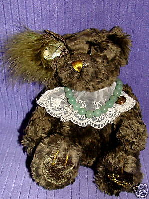 Brass Button Bear Lizbeth Aventurine Necklace Rare Htf