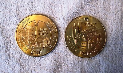 Beautiful Set Of 2 - 1962 - Seattle World's Fair - Golden Coin & Medallion Set
