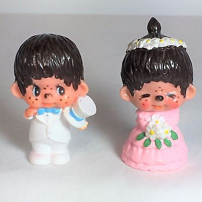 Monchhichi PVC Mini Figure - BRIDE & GROOM - Vintage Monchichi Sekiguchi