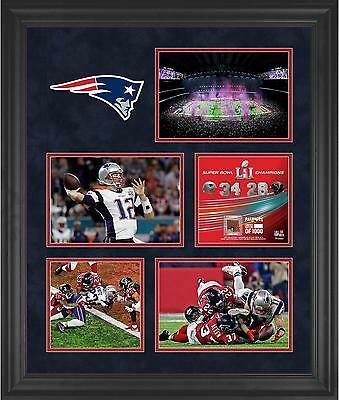 New England Patriots Framed 23x27 Super Bowl LI Champs Collage w/Game Ball Piece