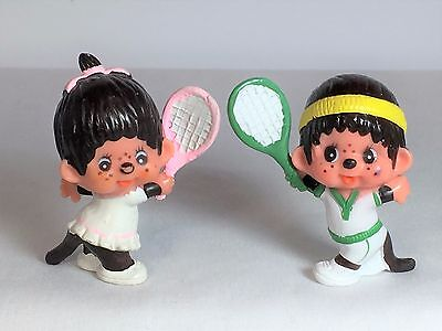 Monchhichi PVC Mini Loose Figure - BOY GIRL TENNIS - Vintage Monchichi Sekiguchi