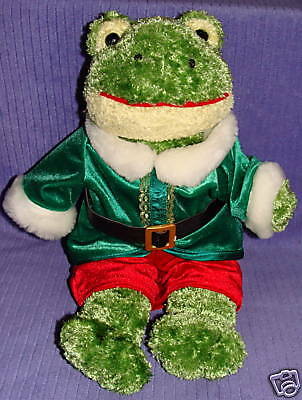 Build A Bear Frog Green Chenille In Santa Suit ~ Be3
