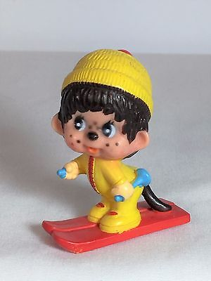 Monchhichi PVC Mini Figure - CROSS COUNTRY SKIER - Vintage Monchichi Sekiguchi