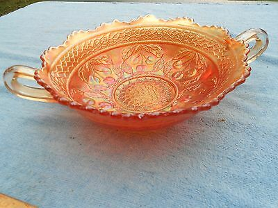 Northwood Glass? Carnival Dish, Cherry and Cable, Marigold, Double Handled, #319