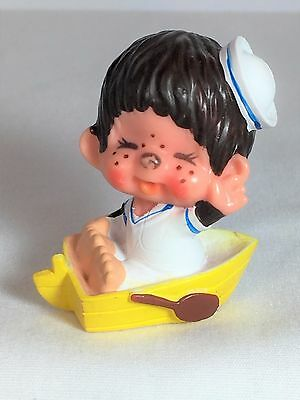 Monchhichi PVC Mini Figure - YELLOW ROW BOAT - Vintage Monchichi Sekiguchi