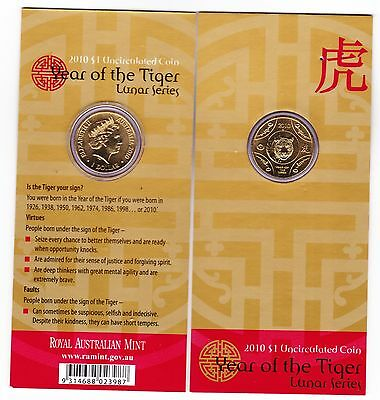 2010 Year of the Tiger Lunar Series $1 Uncirculated Coin in Card RAM