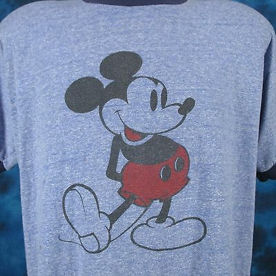 vintage 80s MICKEY MOUSE DISTRESSED PAPER THIN RINGER T-Shirt LARGE walt disney