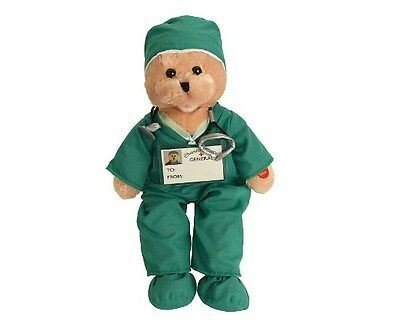 """NEW Chantilly Lane Scrubs animated Bear Singing I'll Be There Plush, 19"""", Green"""