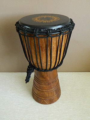 Threeworlds Fun for Life Djembe Drum Bongo Handheld Wooden Tribal Carved 40 cm