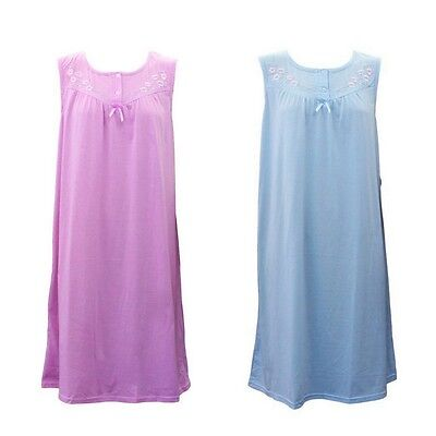 Women's Ladies Sleeveless Cotton Blend Nightie Night Gown Pyjamas PJ Sleepwear
