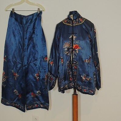 1930's Blue  Chinese Hand Embroidered Silk Coat / Pants Pajama set MED