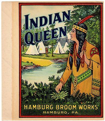 Broom Label Vintage 1930S Original Scarce Native American Indian Queen Teepees