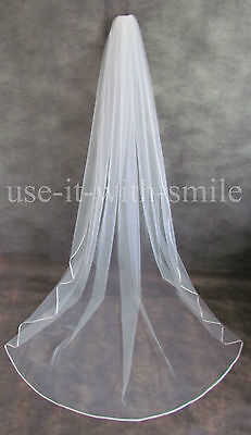 98'' Single Tier Ivory / White Chapel Length Wedding/Bridal Veil Satin Edge NEW