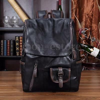 Vintage Men Backpack Leather Messenger School Bag Satchel Laptop Travel Rucksack